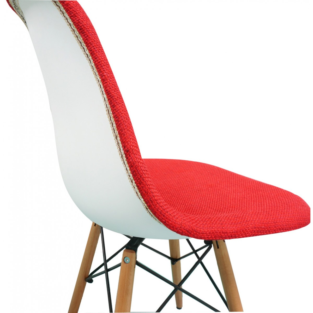 Red Fabric Upholstered Eames Style Accent Chair With Dark Walnut Wood  Eiffel Legs