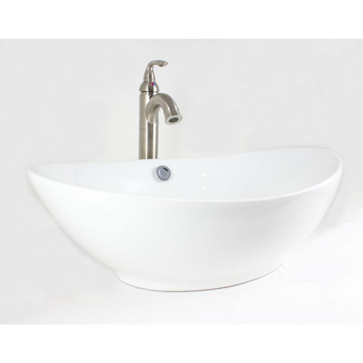 White Biscuit Black Porcelain Ceramic Countertop Bathroom Vessel Sink 23 1 4 X 15 7 2 Inch