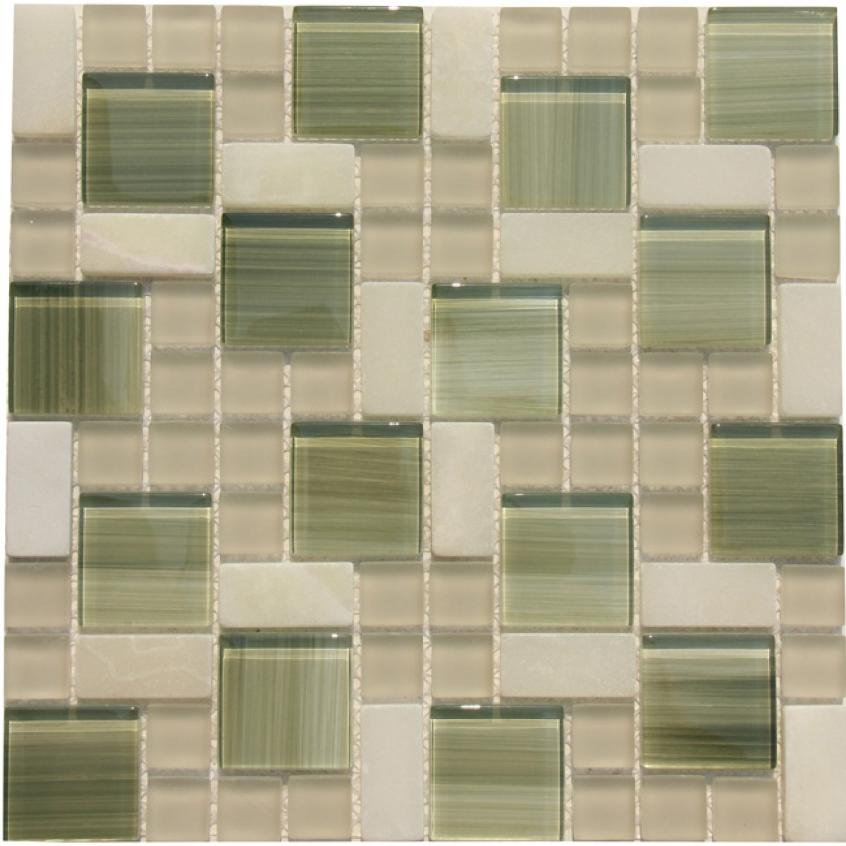 Glossy Bright Green Glass With White Marble Mosaic Tile