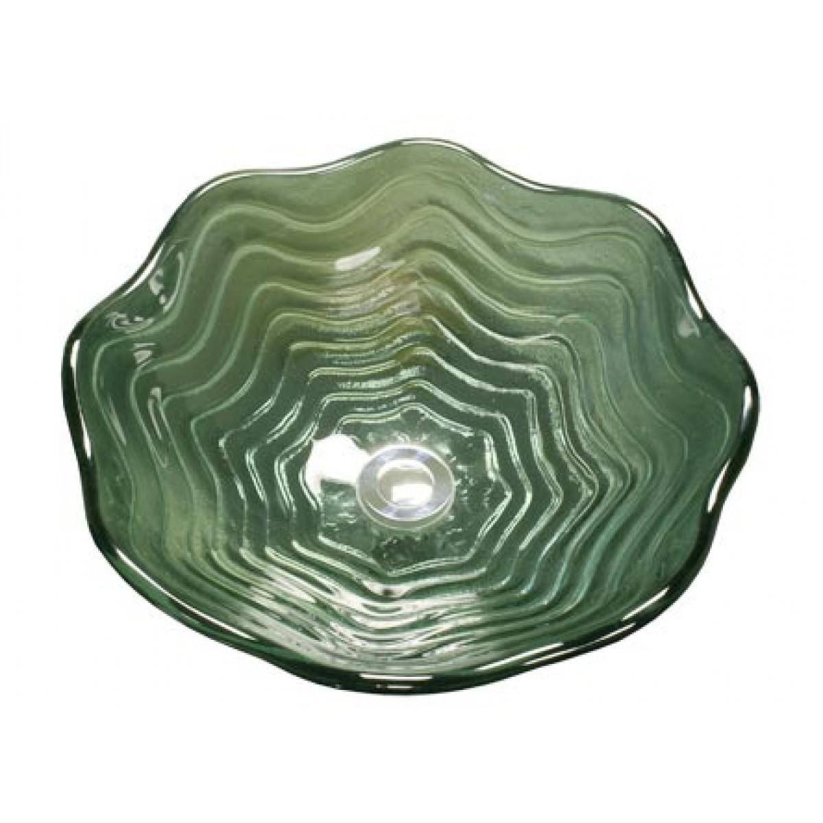 Green Pearl Shell Design Glass Countertop Bathroom Lavatory Vessel Sink    16 1/2 X 5 3/4 Inch
