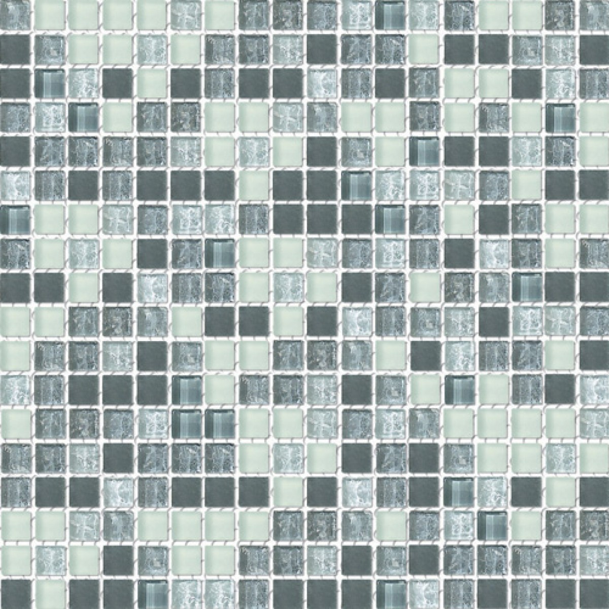 Grayscale Frosted Blend Gl Mosaic Textured Tile Mesh Backed Sheet