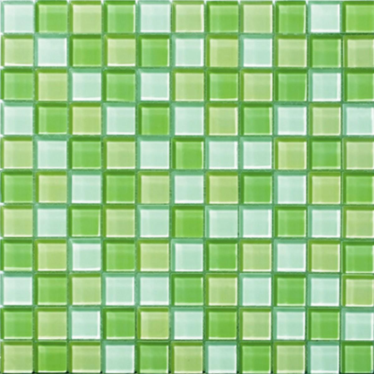 Glazed Mosaic Tiles : Glossyapple green blend glass mosaic tile mesh backed sheet