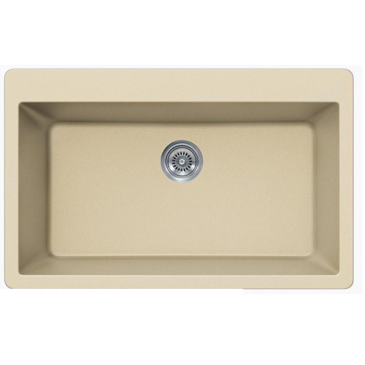 Beige Quartz Composite Single Bowl Undermount / Drop In Kitchen Sink ...