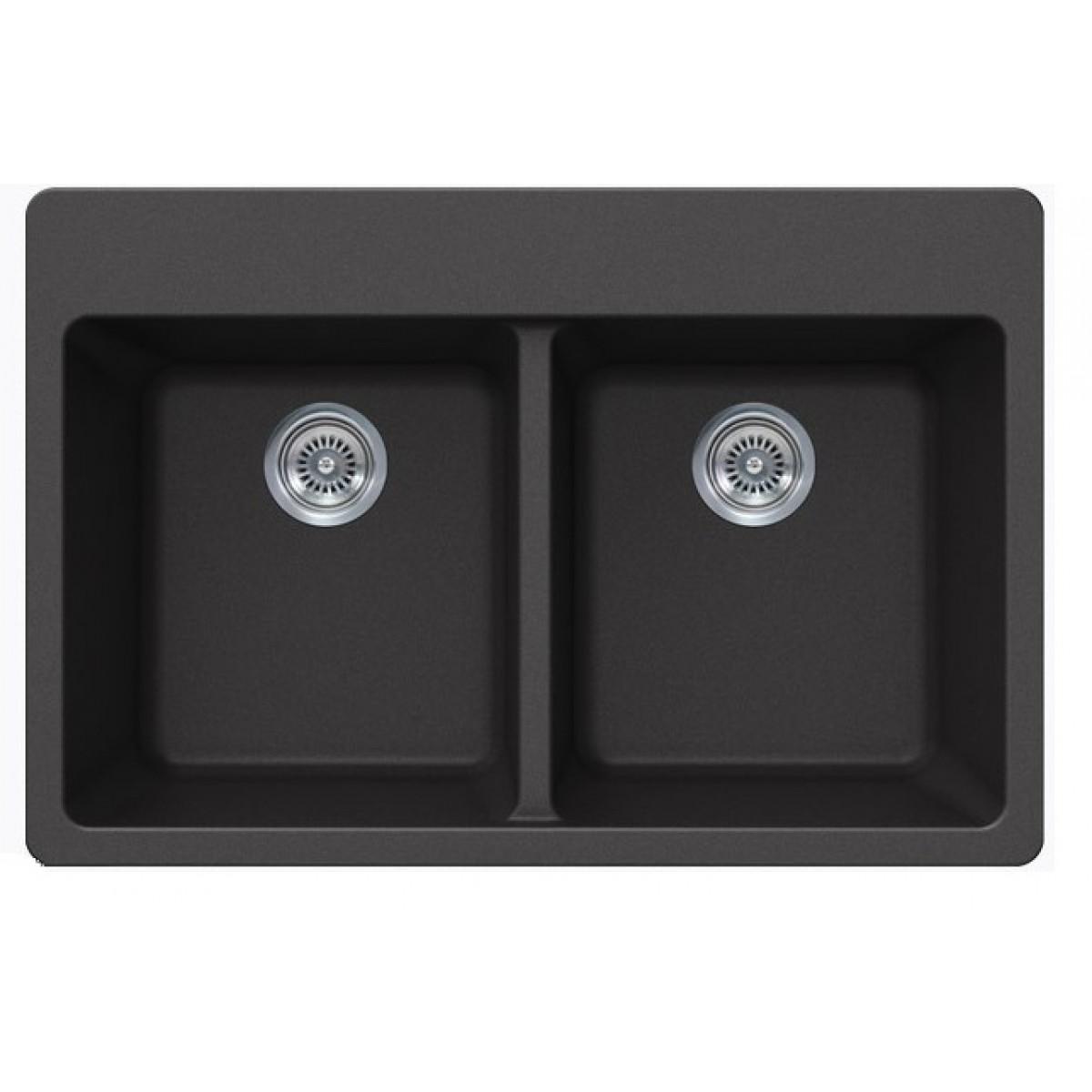 Black Quartz Composite Double Bowl Undermount / Drop In Kitchen Sink ...
