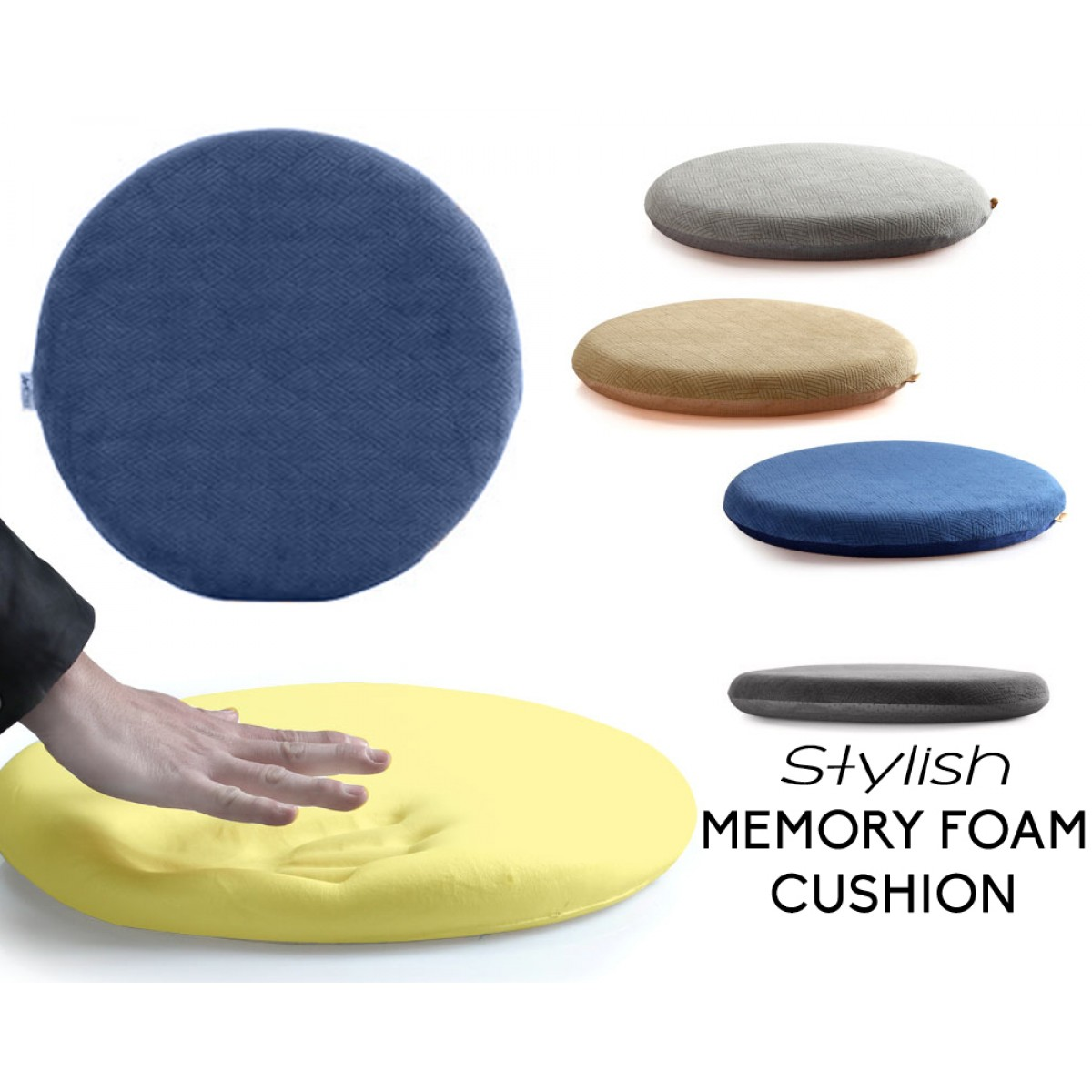 Eames Style Memory Foam Seat Cushion   Premium Modern Large Non Slip Dining  / Office Chair Pad   Relieve Stress
