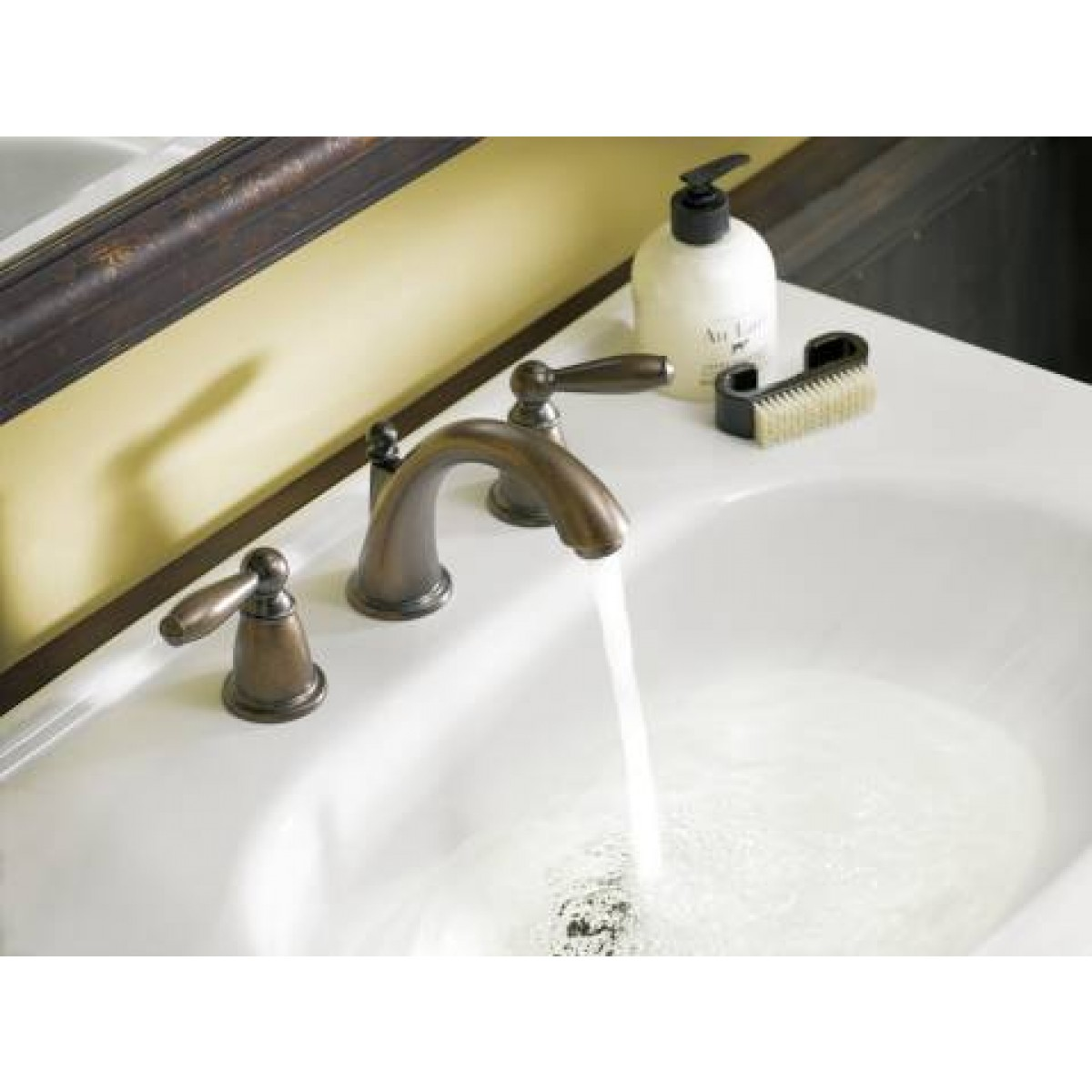 Moen Brantford Lead Free 3 Hole High Arc Bathroom Faucet Oil Rubbed ...