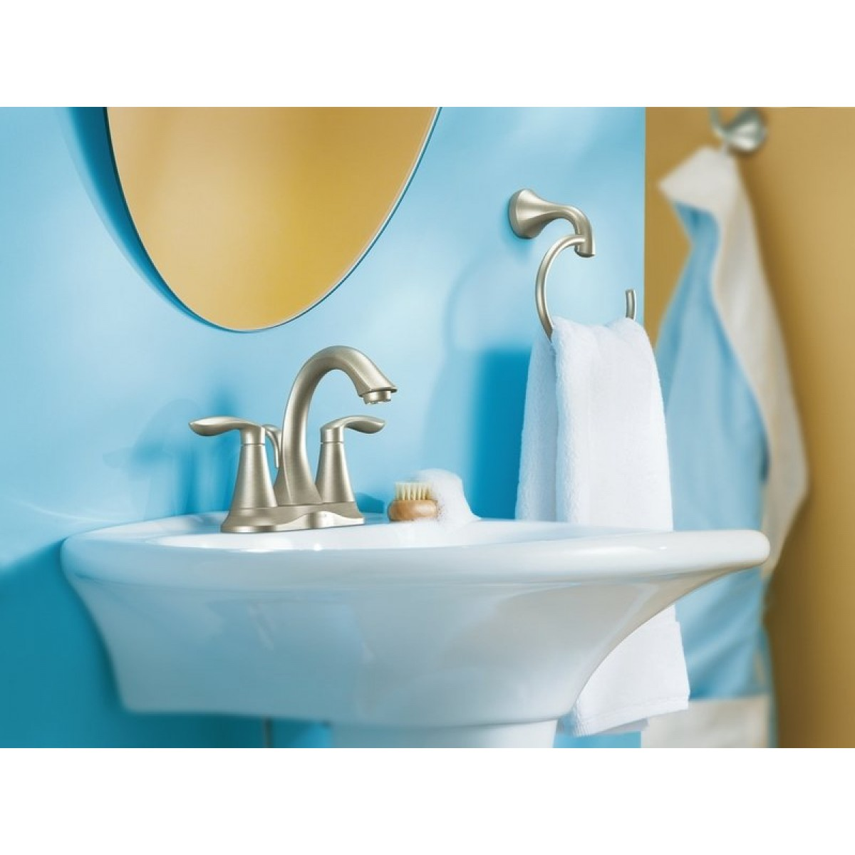 Moen Eva Centerset Lead Free 3 Hole High Arc Bathroom Faucet Brushed ...
