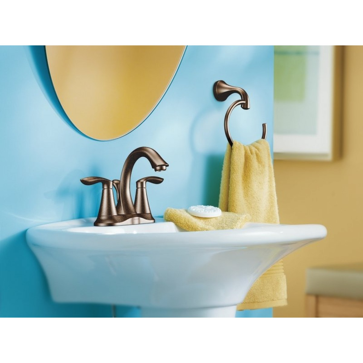 Moen Eva Centerset Lead Free 3 Hole High Arc Bathroom Faucet Oil ...