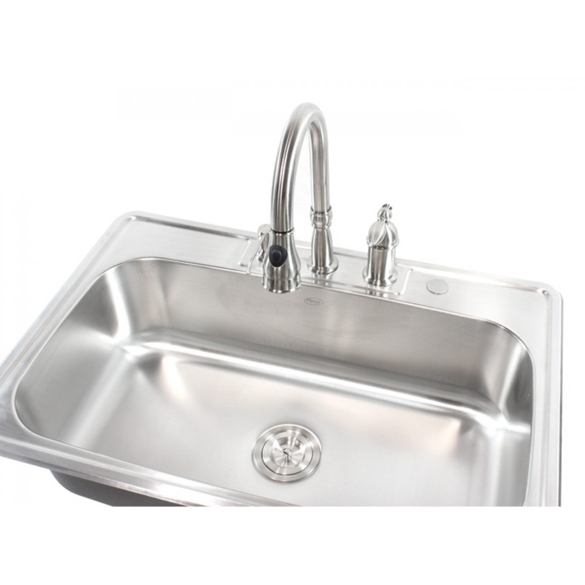 Top Mount Sink Kitchen: 33 Inch Stainless Steel Top Mount Drop In Single Bowl