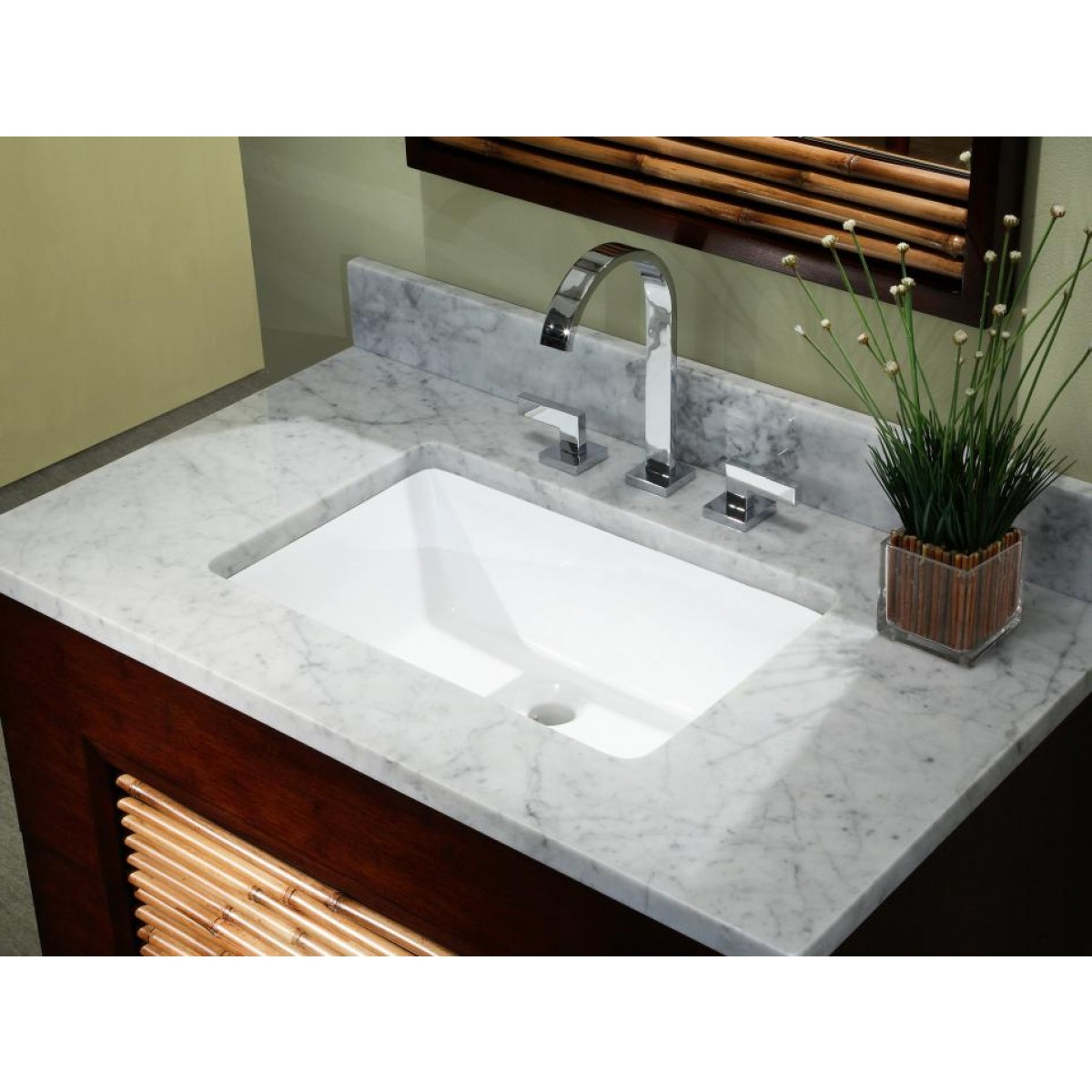 Rectangular White / Biscuit Porcelain Ceramic Vanity