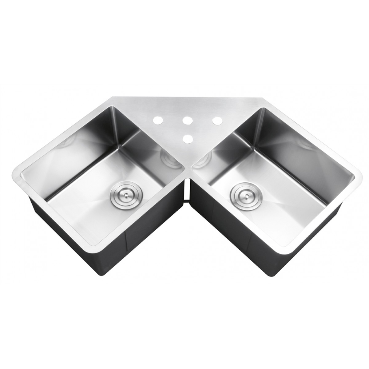 43 Inch Stainless Steel Undermount Erly Corner Double Bowl Kitchen Sink With Free Accessories
