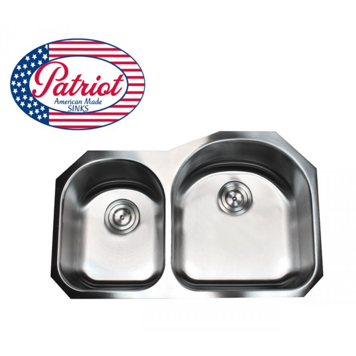 31 Inch Patriot Premium 18 Gauge Stainless Steel Undermount 30/70 Double  D Bowl Kitchen Sink
