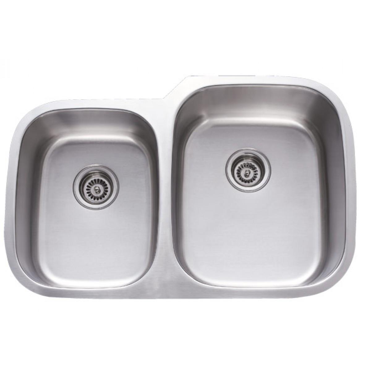 32 Inch Stainless Steel Undermount 40/60 Double Bowl Kitchen Sink - 18 Gauge