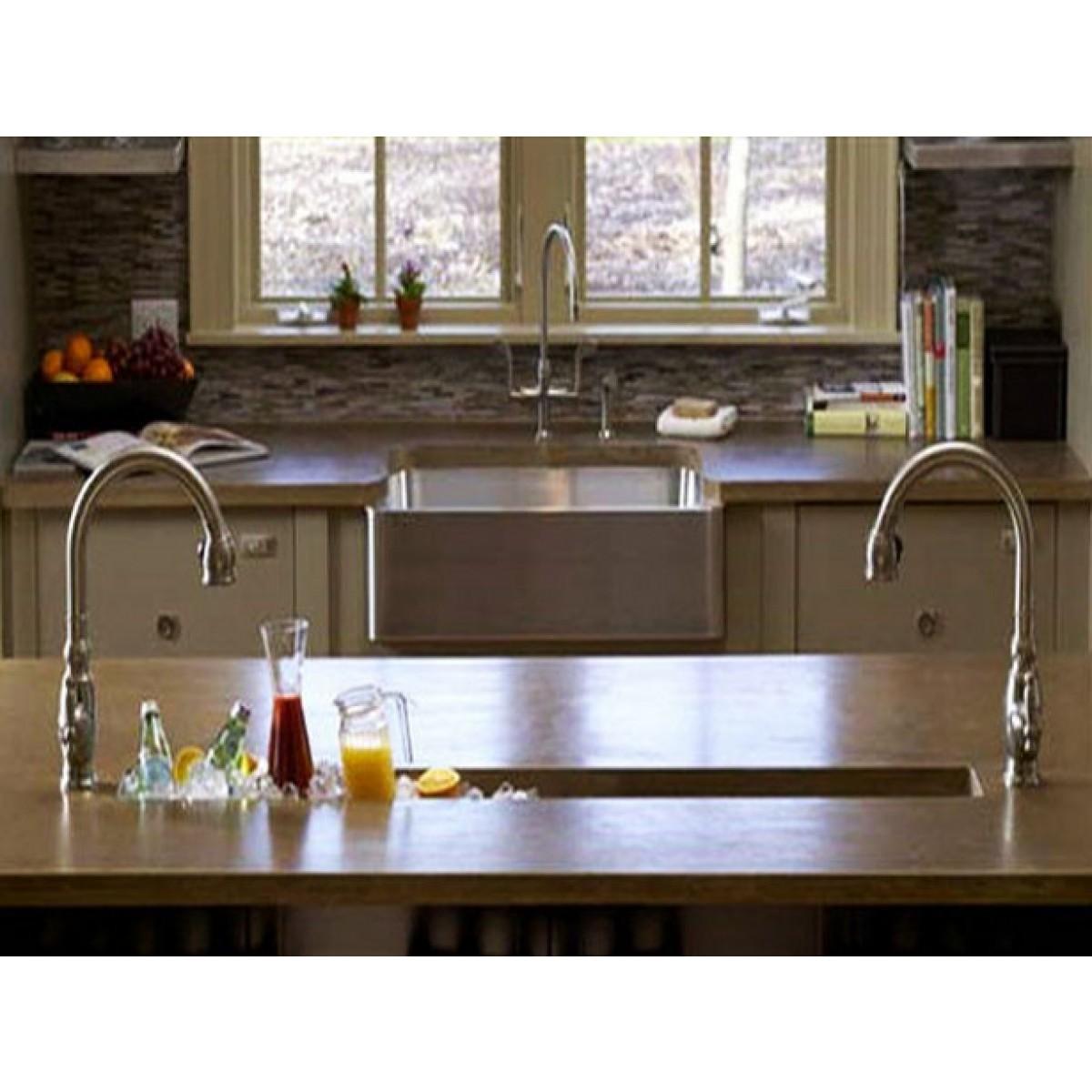 32 Inch Stainless Steel Undermount Single Narrow Bowl Kitchen / Bar / Prep  Sink Zero Radius Design