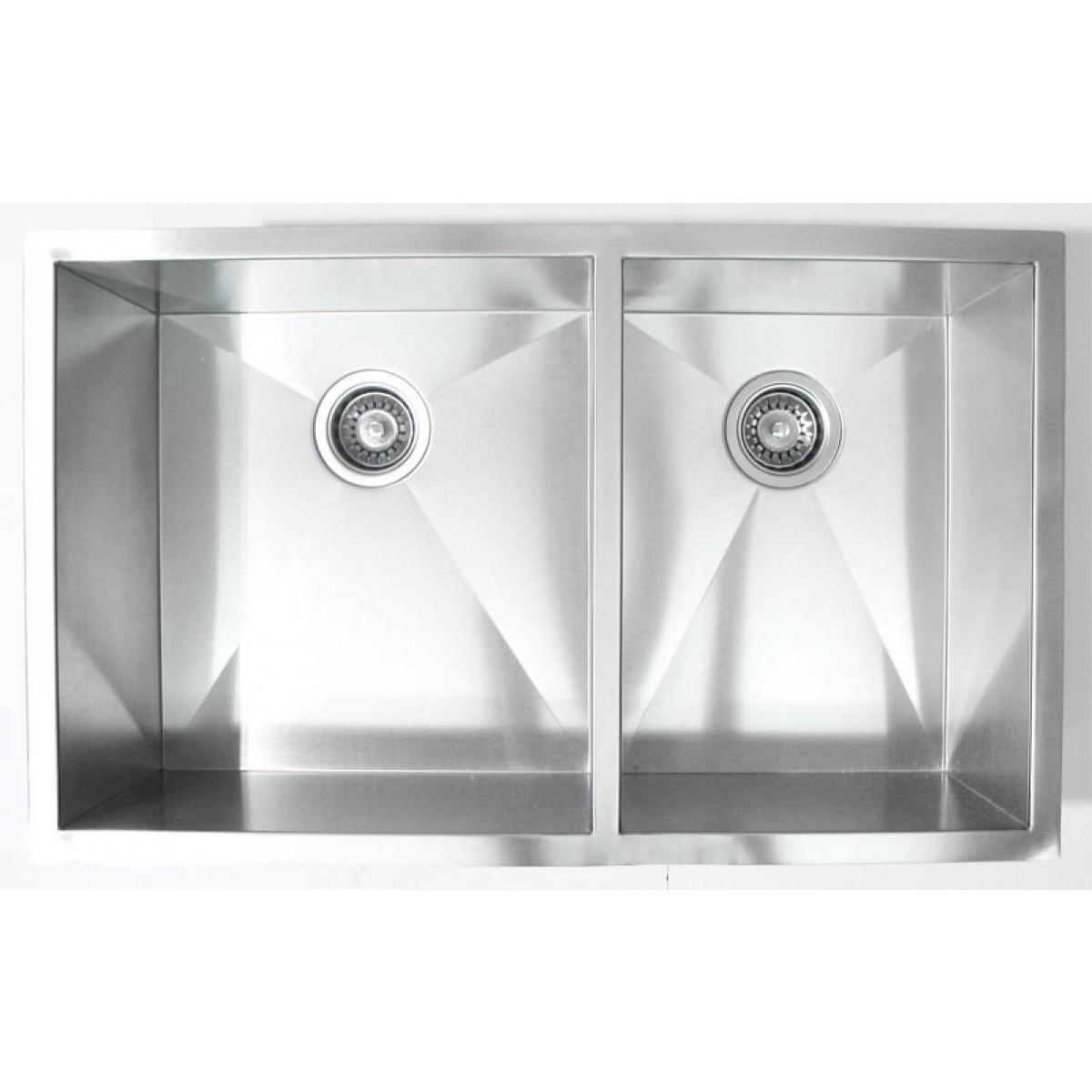 32 Inch Stainless Steel Undermount 60 40 Double Bowl Kitchen Sink Zero Radius Design