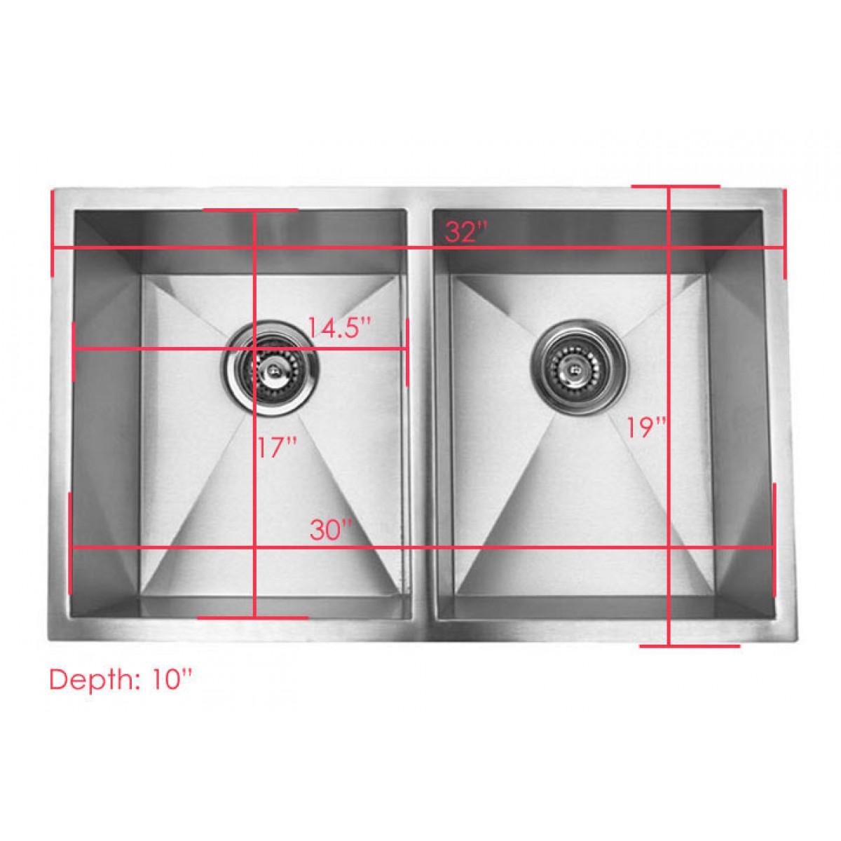 32 inch stainless steel undermount 50 50 double bowl kitchen sink zero radius design