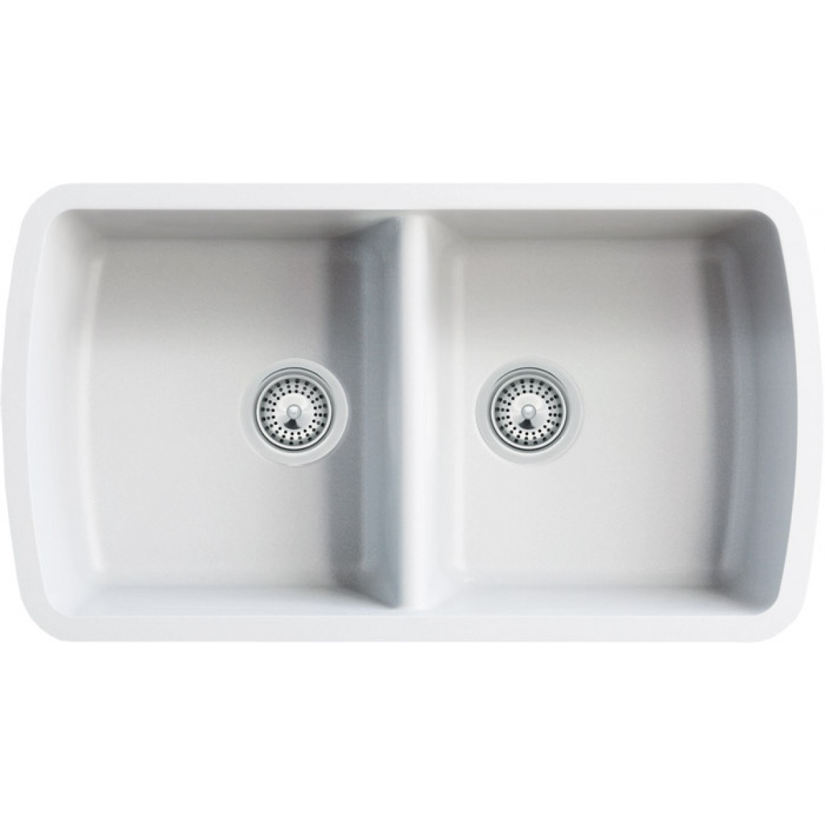 White Quartz Composite 50 50 Double Bowl Undermount Kitchen