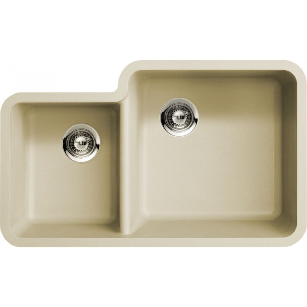 Beige Quartz Composite 40/60 Double Bowl Undermount Kitchen Sink ...