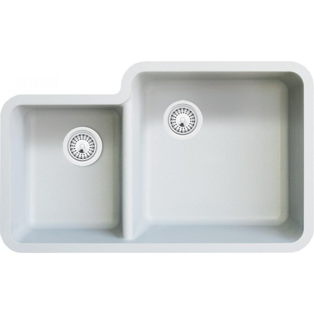 White Quartz Composite 40/60 Double Bowl Undermount Kitchen Sink ...