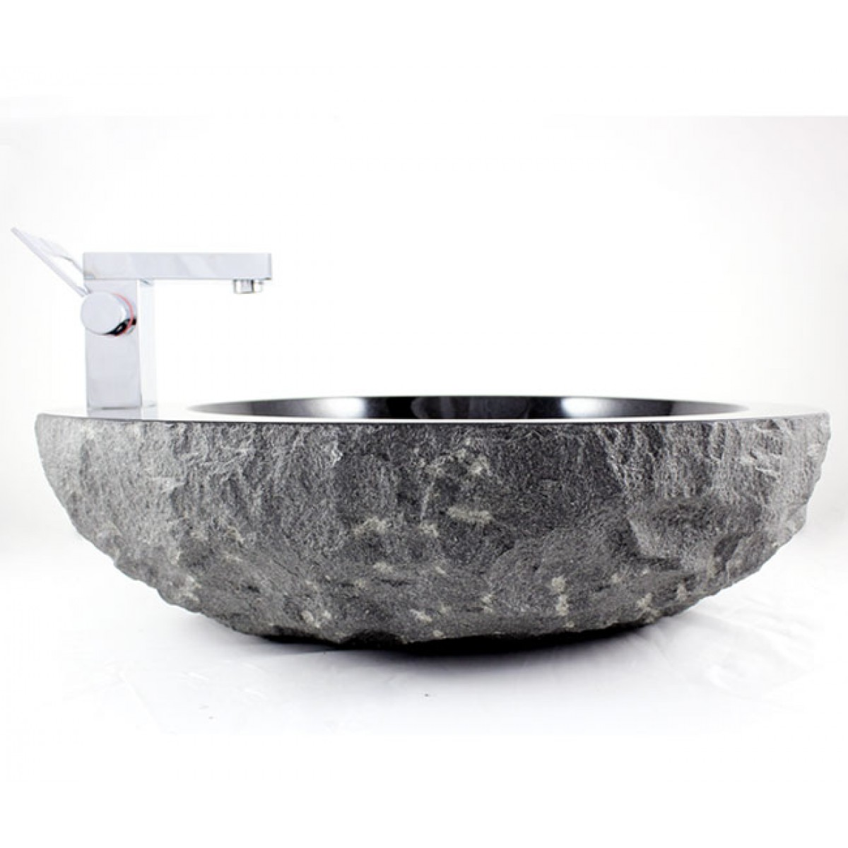 Natural Stone Absolute Black Granite Finish Bathroom Lavatory Vessel Sink    22 1/8 X 18 3/16 X 5 1/4 Inch
