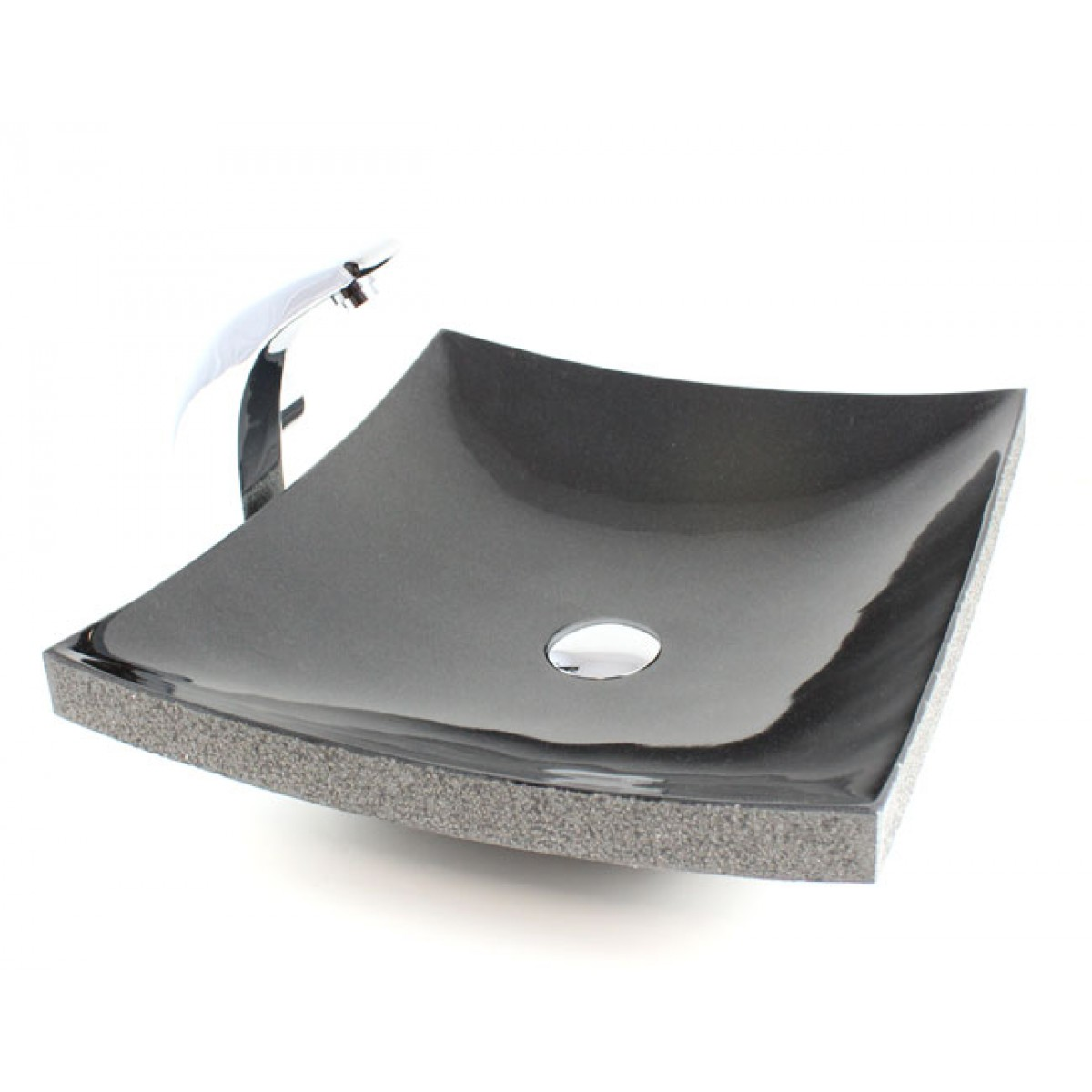Merveilleux Curved Rectangular Granite Vessel Sink With Chiseled Exterior Absolute Black