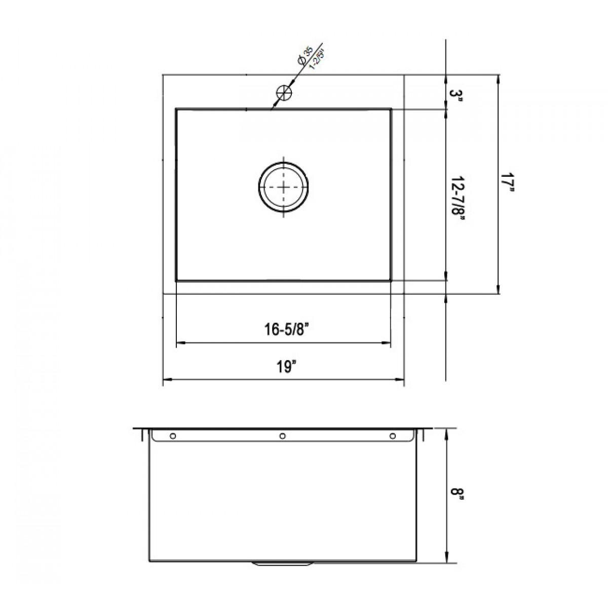 Kitchen Island With Sink Dimensions: 19 Inch Top-Mount / Drop-In Stainless Steel Single Bowl Kitchen Island / Bar Sink Zero Radius Design