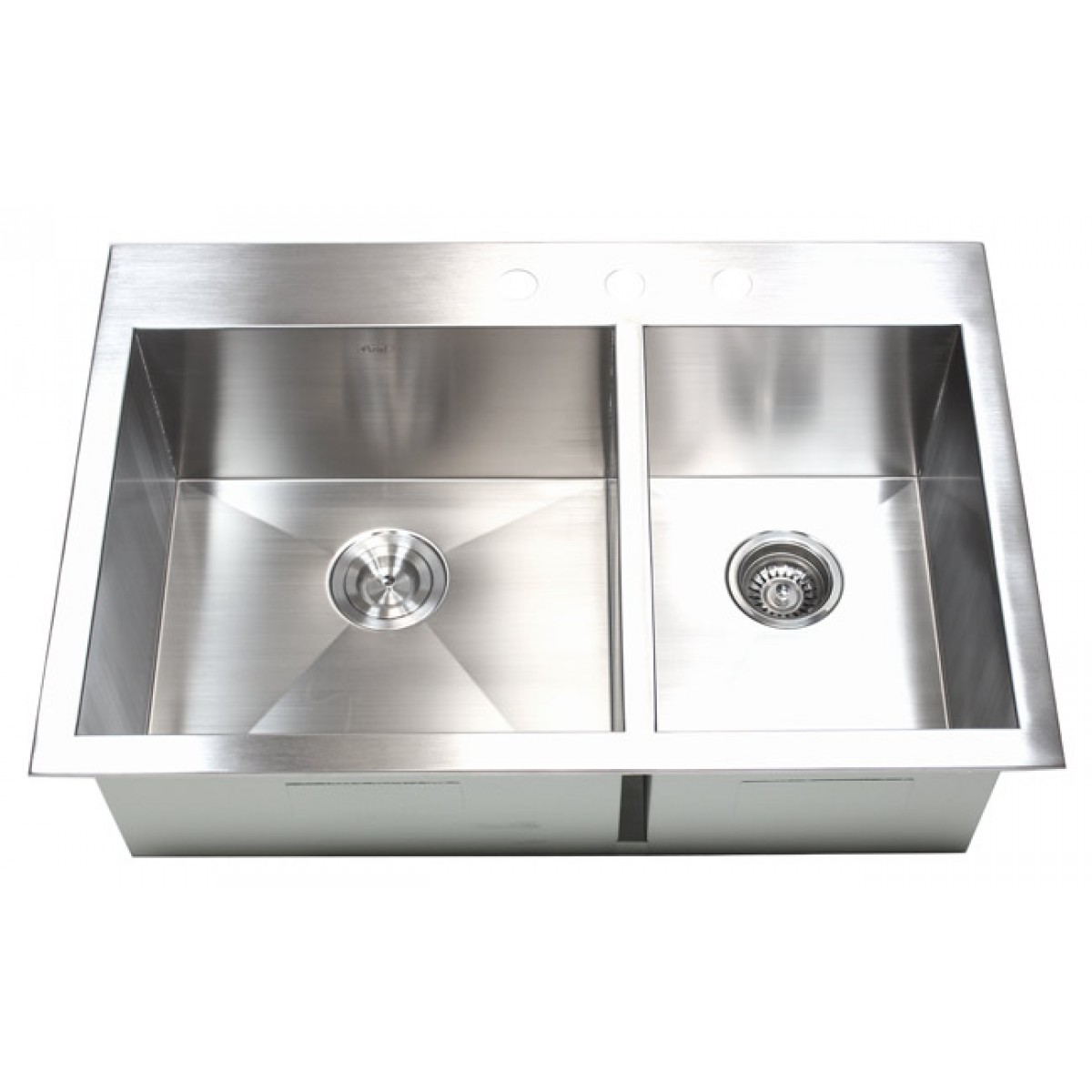 33 Inch Top Mount / Drop In Stainless Steel 60/40 Double Bowl Kitchen Sink  Zero Radius Design