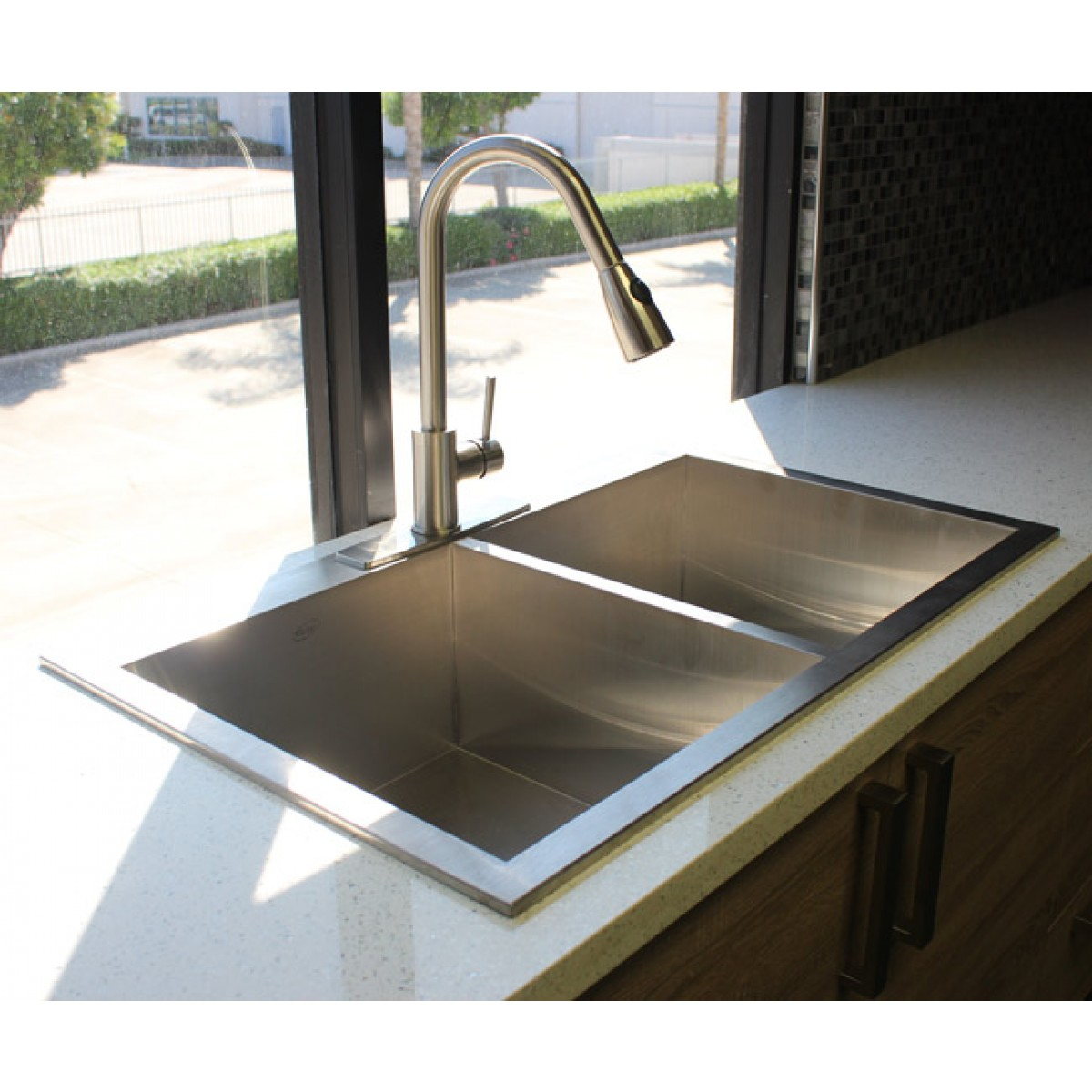 Top Mount Sink Kitchen: 33 Inch Top-Mount / Drop-In Stainless Steel Double Bowl