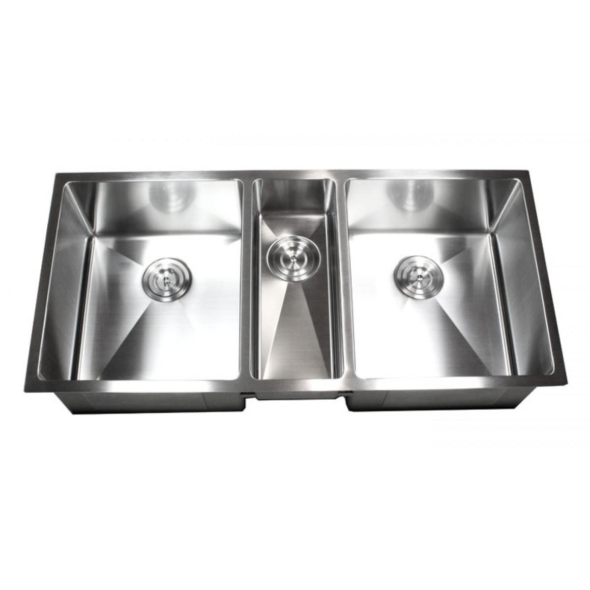 42 Inch Stainless Steel Undermount Triple Bowl Kitchen Sink 15mm Radius  Design - 16 Gauge
