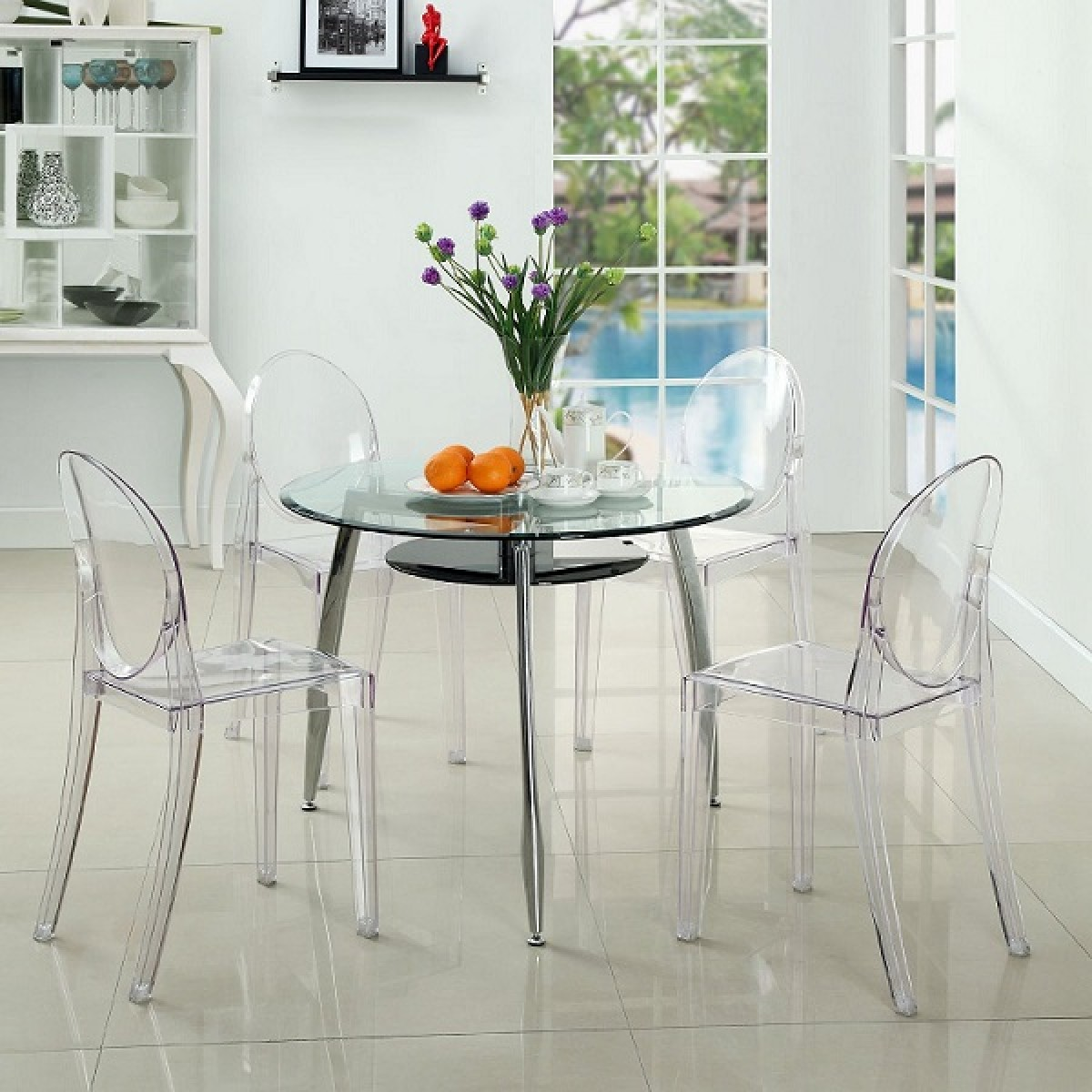 Set Of 4 Victoria Style Ghost Dining Chair Clear Color