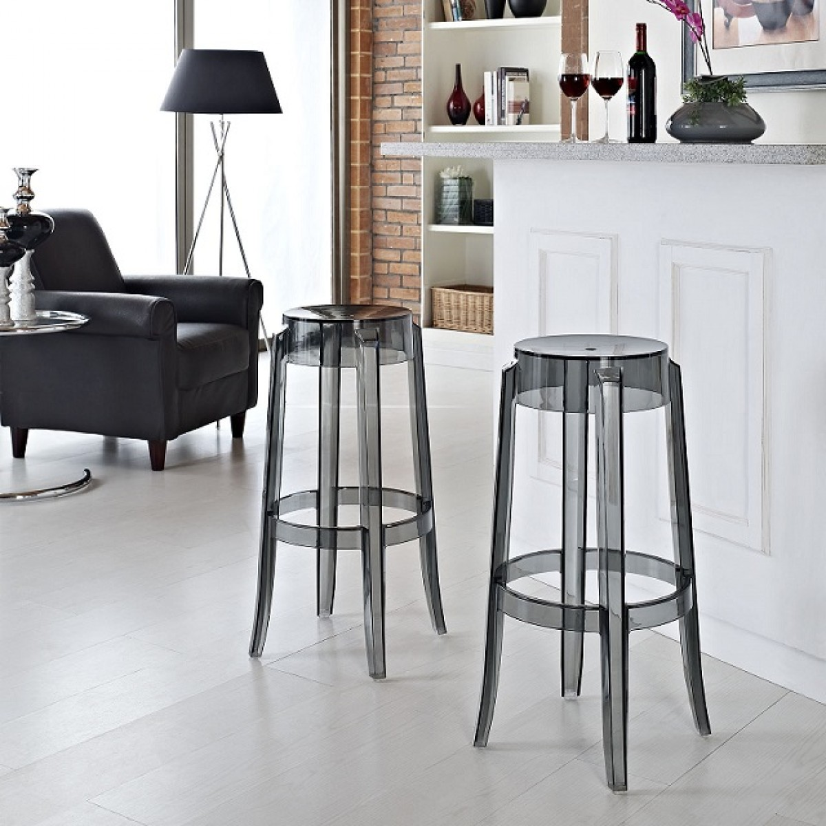 Set Of 2 Victoria Style Ghost Bar Stool Smoke Color