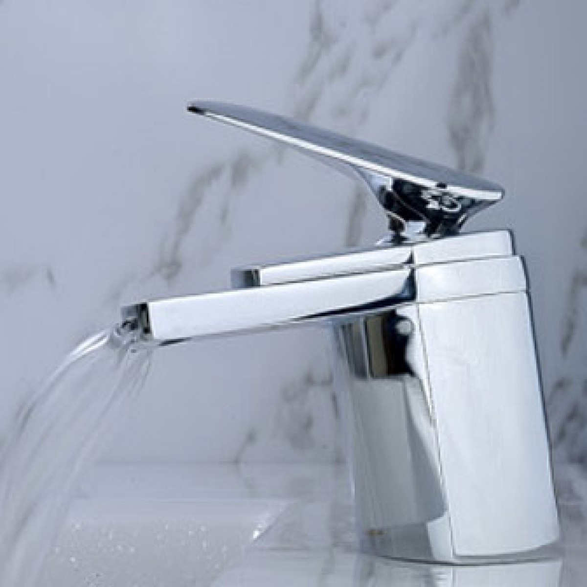 Chrome Contemporary Waterfall Flat Spout Single Hole Bathroom Faucet ...