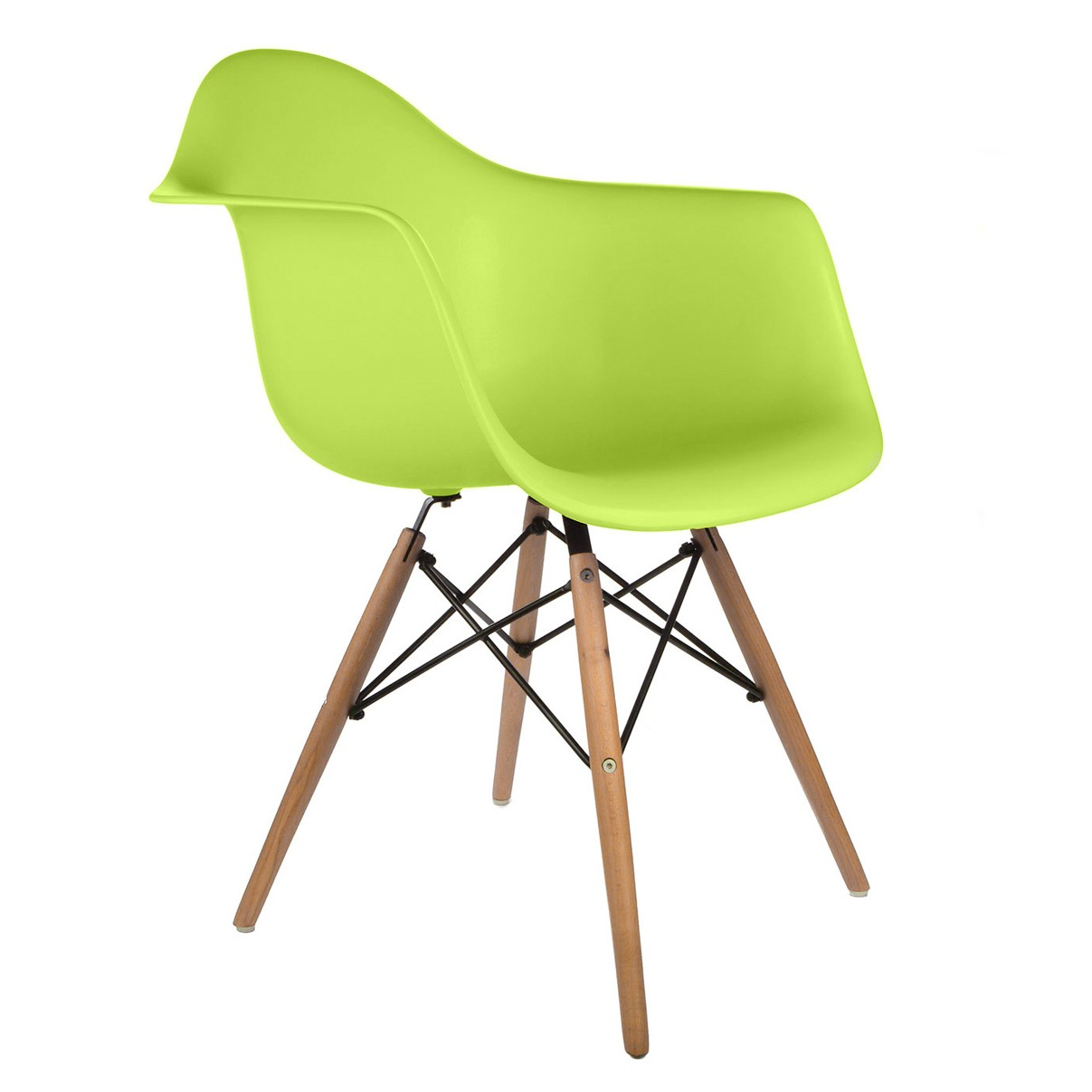 DAW Molded Lime Green Plastic Dining Armchair With Wood Eiffel Legs