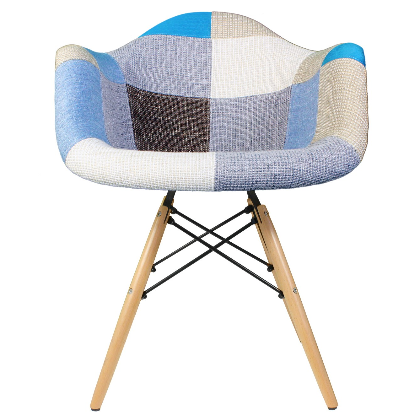 Patchwork fabric upholstered mid century eames style accent arm chair · display gallery item 1 · display gallery item 2