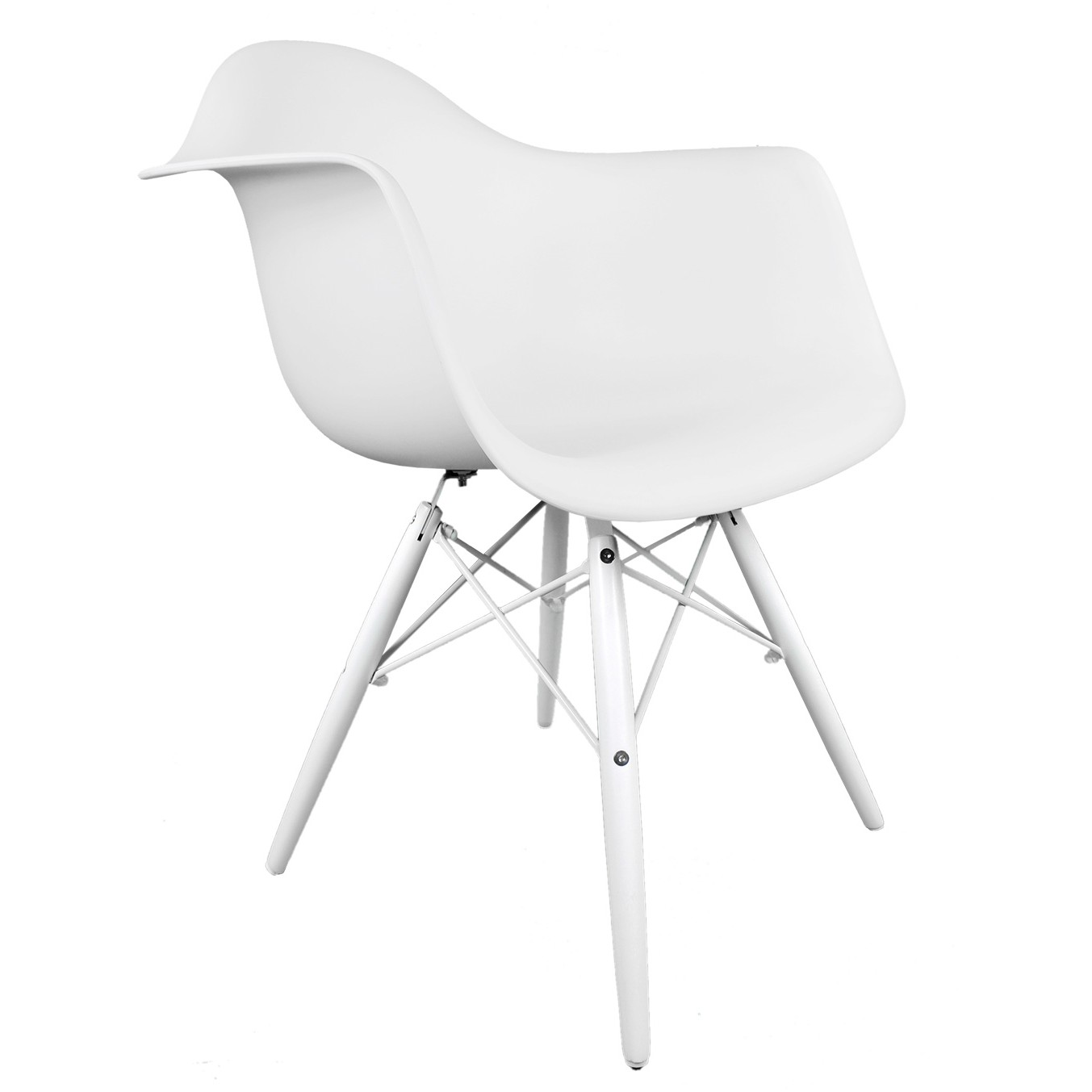 Daw White Plastic Accent Arm Chair With Wood Eiffel Legs