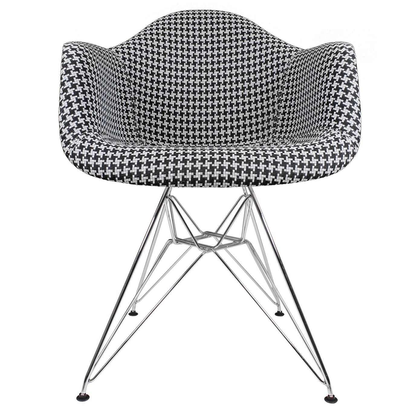 Houndstooth Pattern Woven Fabric Upholstered White Eames Style ...