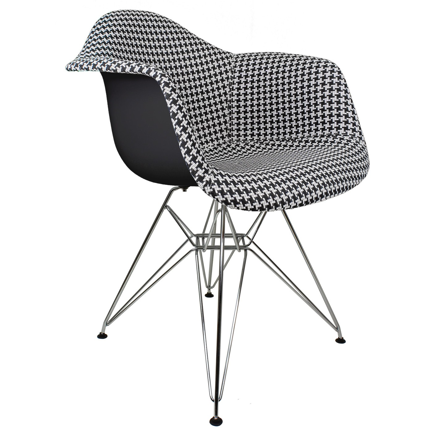 Houndstooth Pattern Woven Fabric Upholstered Black Accent Arm Chair