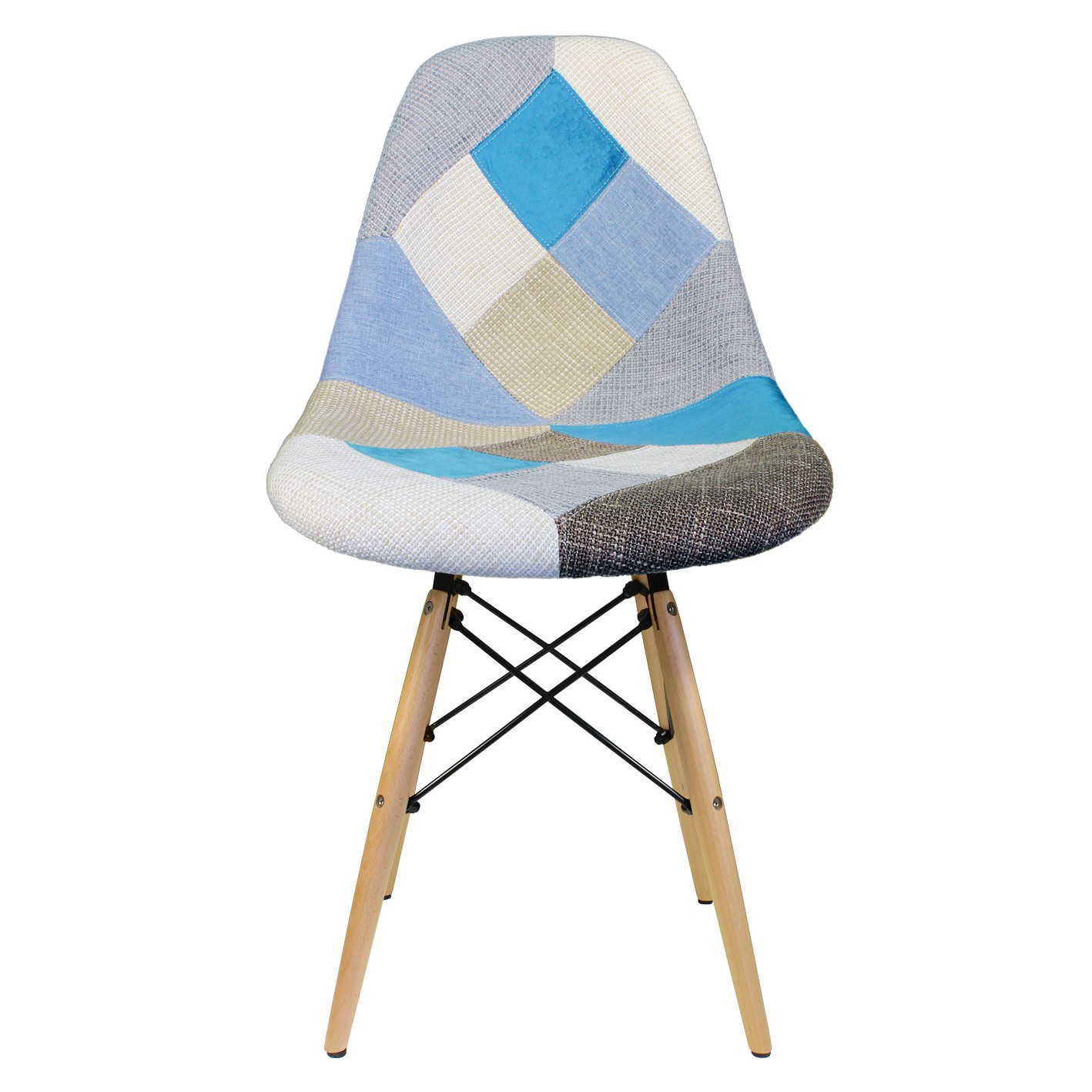 Patchwork fabric upholstered mid century accent side dining chair · display gallery item 1 · display gallery item 2