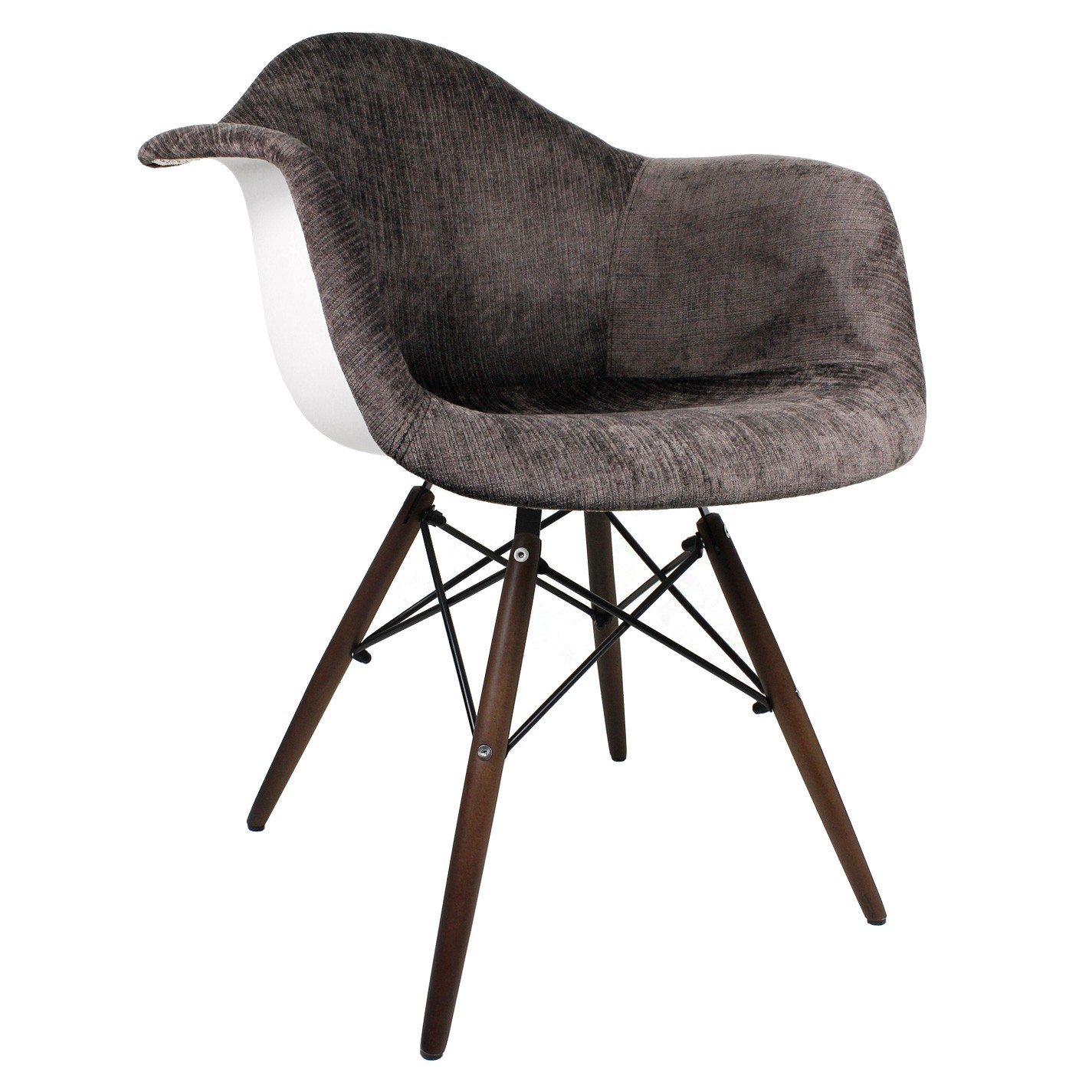Cocoa Brown Velvet Fabric Eames Style Accent Arm Chair