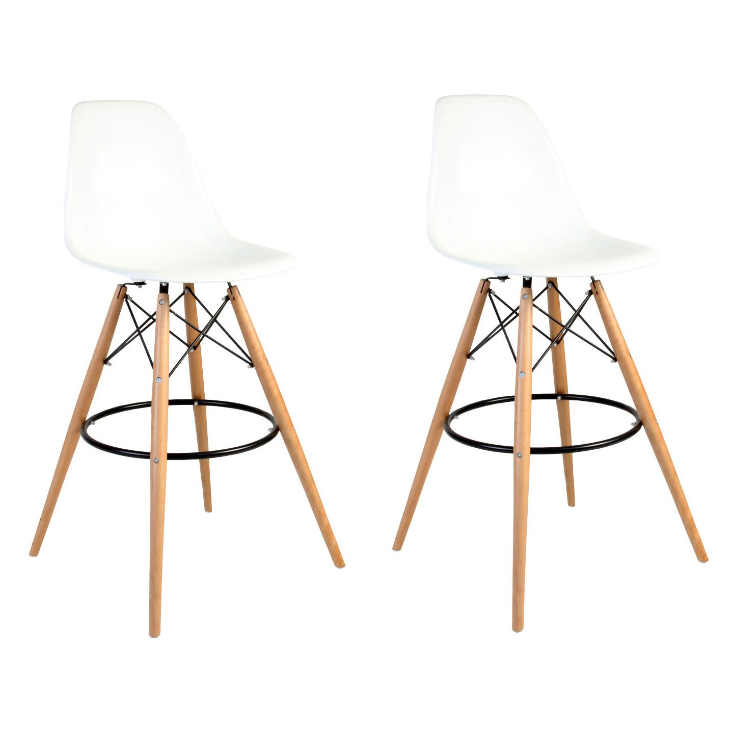 Set Of 2 Eames Style Dsw White Plastic 30 Inch Bar Stool With Wood