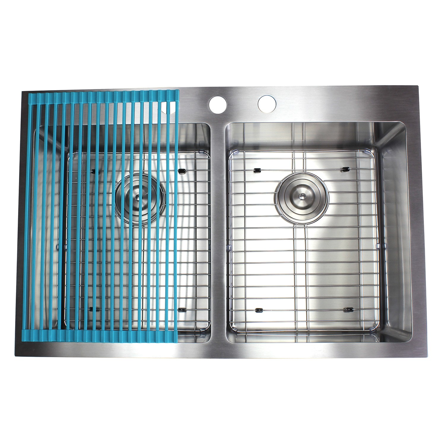 33 Inch Top-Mount / Drop-In Stainless Steel 50/50 Double Bowl ...