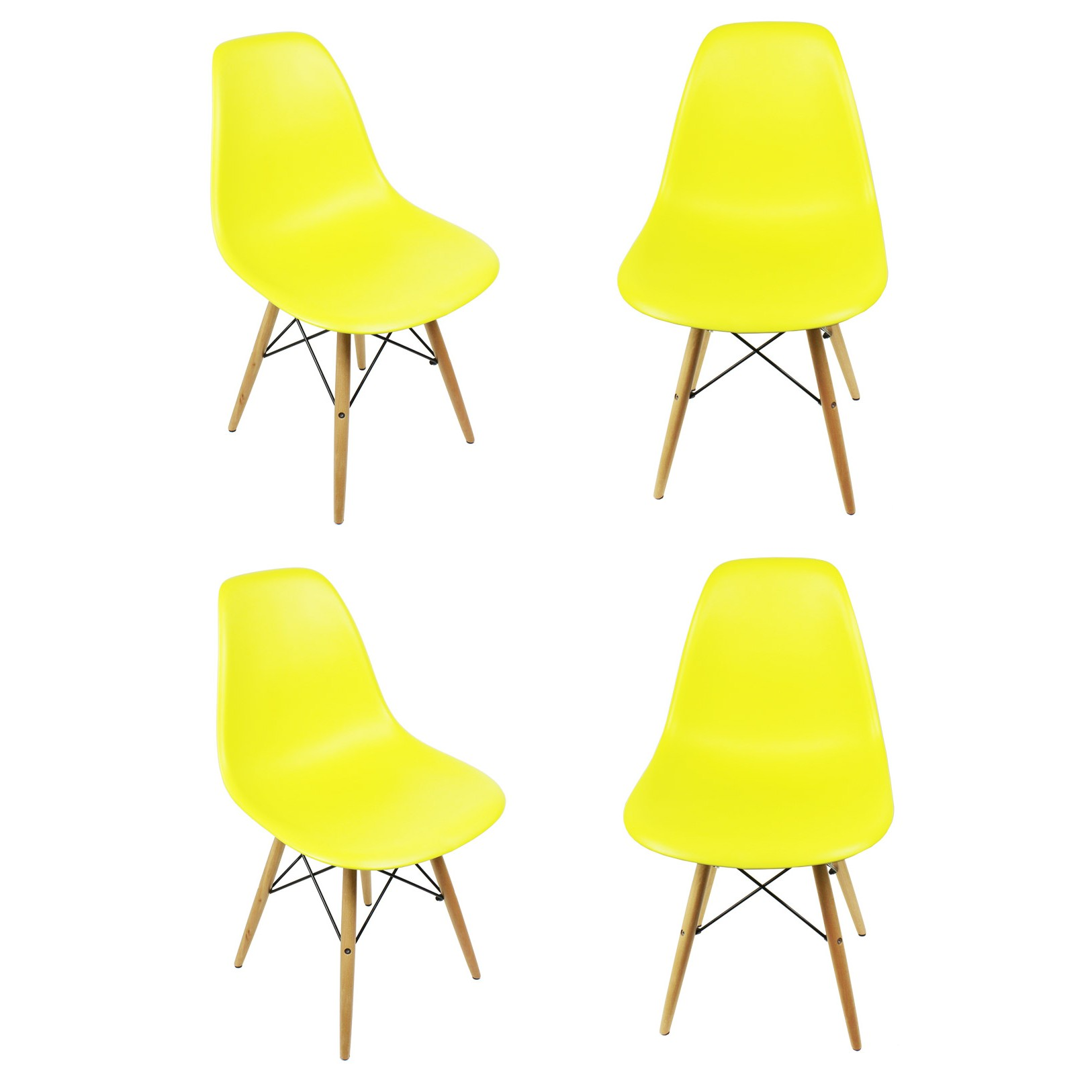 set of 4 eames style dsw molded light yellow plastic dining shell