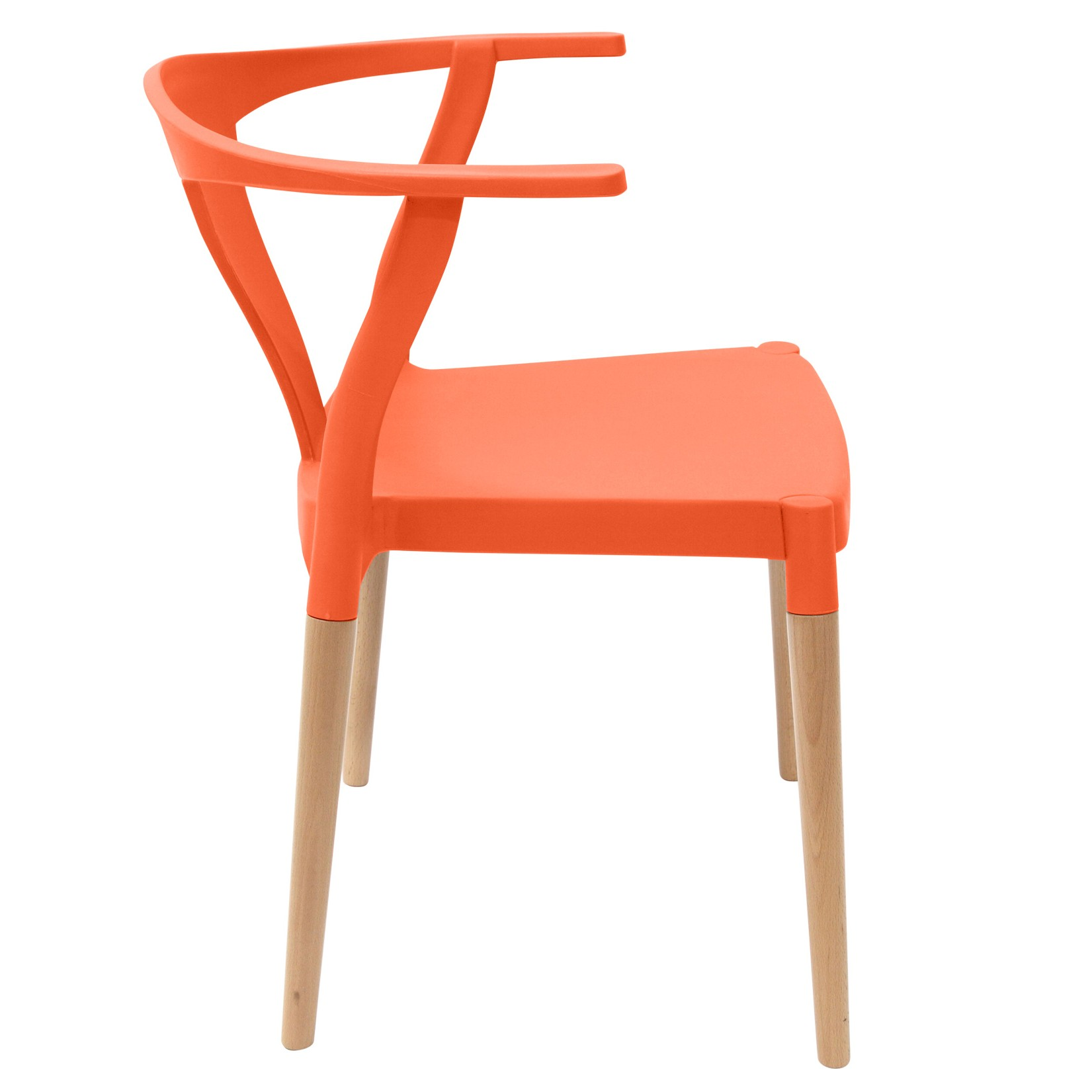 Orange Accent Chair With Wood Arms: Icon Series Orange Modern Accent Dining Arm Chair Beech