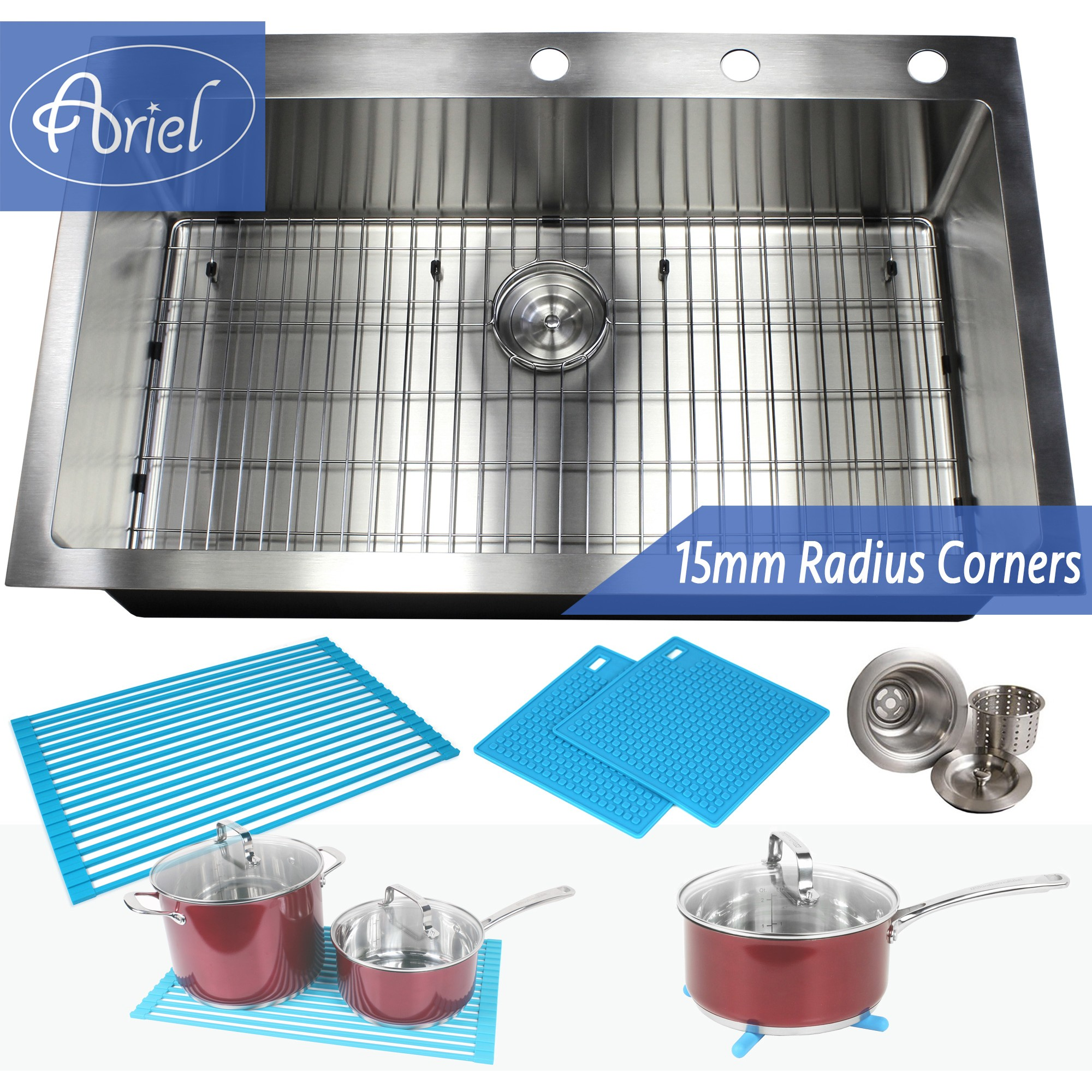 36 Inch Drop-In / Top-Mount Stainless Steel Single Bowl Kitchen Sink ...
