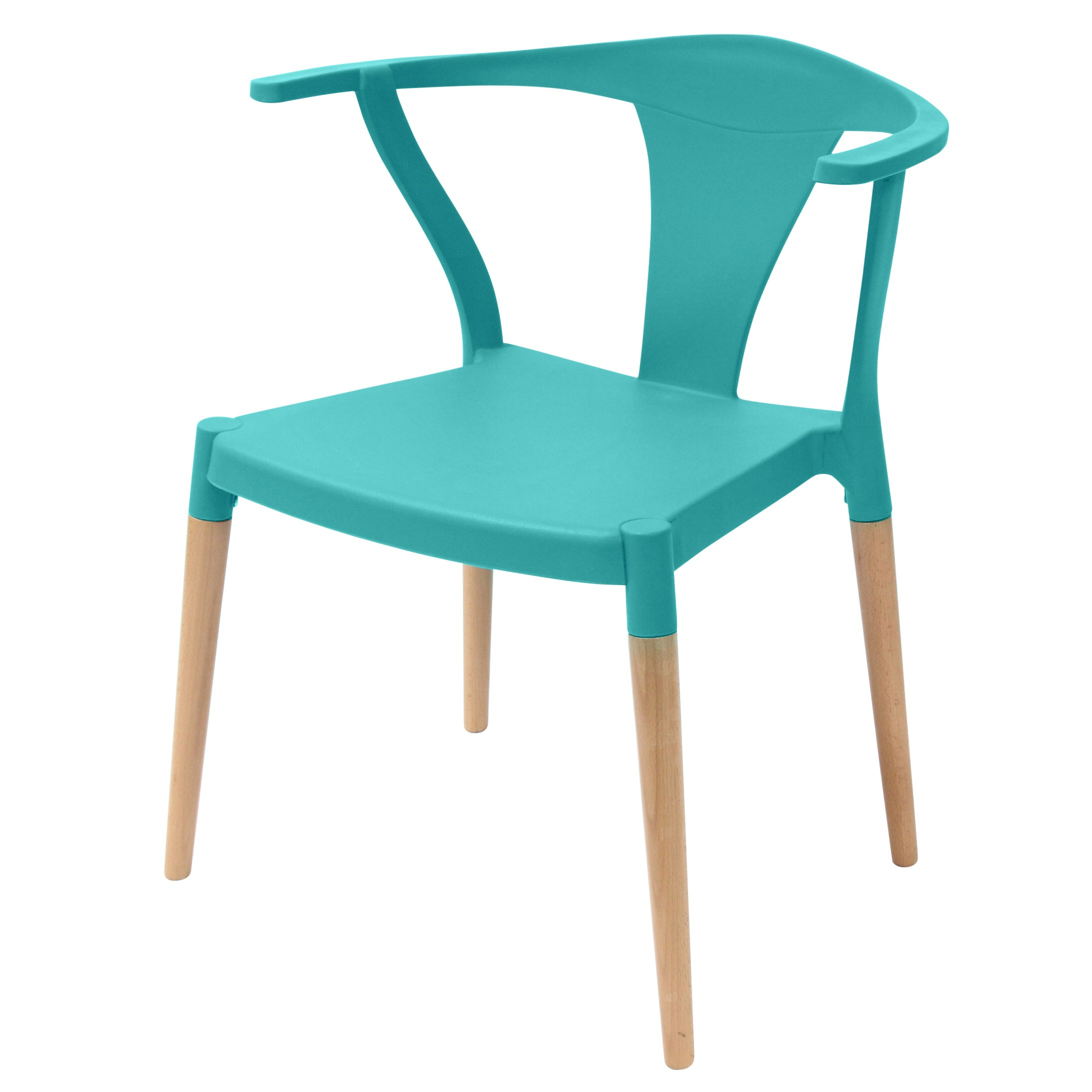 Icon Series Turquoise Modern Accent Dining Arm Chair Beech