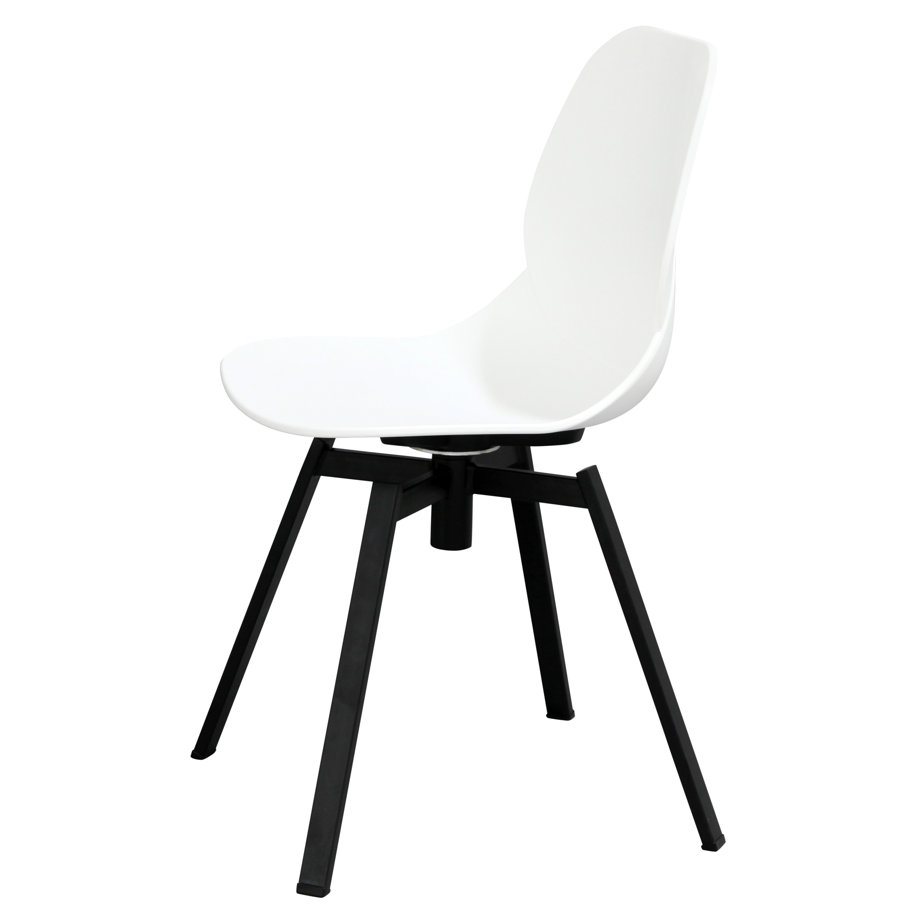 Joy Series White Dining Shell Side Chair Black Leg