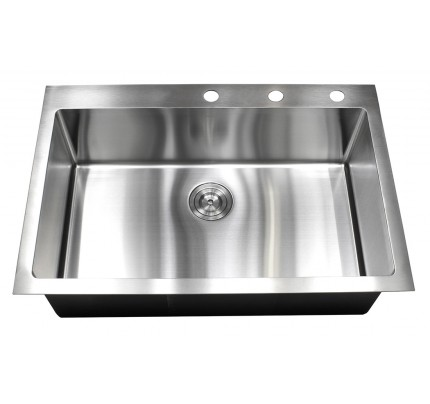 33 Inch Drop In / Top Mount Stainless Steel Single Bowl Kitchen Sink