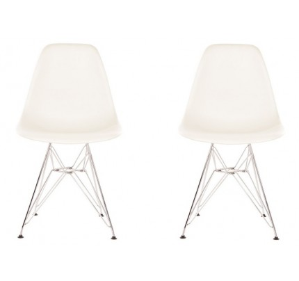 Set Of 2 DSR Molded White Plastic Dining Shell Chair With Steel Eiffel Legs