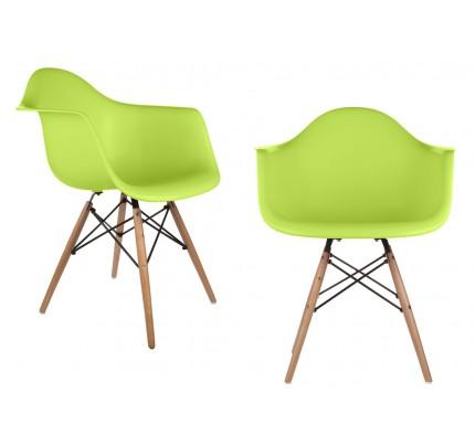 Set Of 2 DAW Molded Light Green Plastic Dining Armchair With Wood Eiffel  Legs