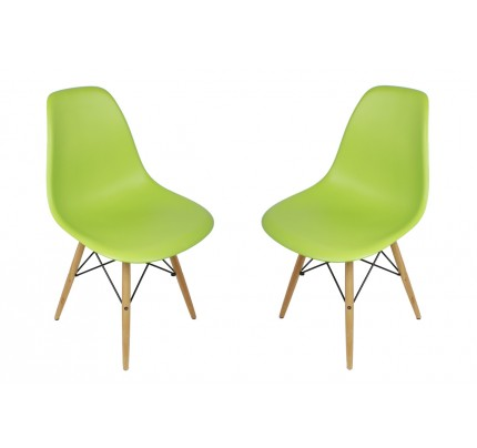 Eames Style DAR Molded Lime Green Plastic Dining Armchair with Steel